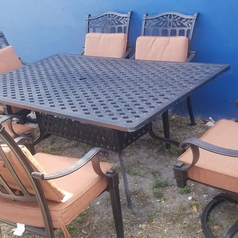 PATIO TABLE W/ 6 CHAIRS, None, Size: None