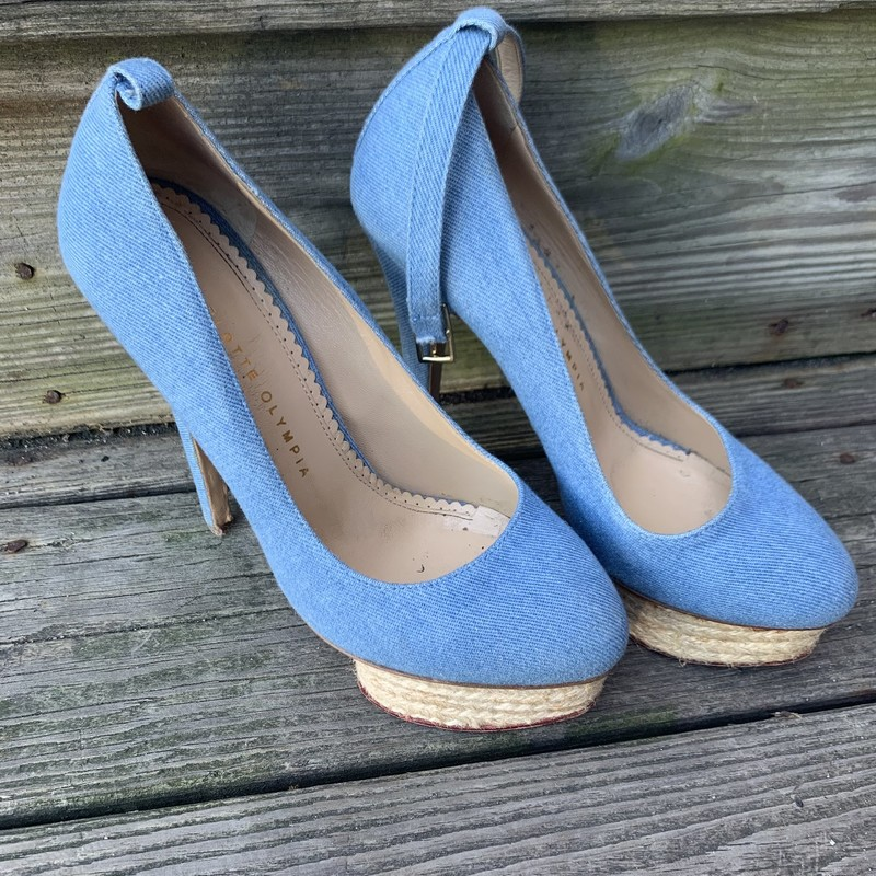 Charlotte Olympia Heels in Light Blue<br /> <br /> These beautiful heels retail for 500! Scoop these up before they quickly!!