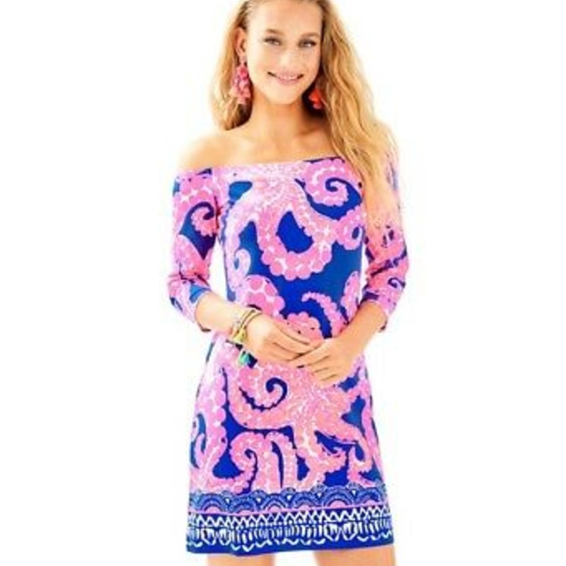 "NWT LIlly Pulitzer Laurana off -shoulder Dress, Mocean Engineered Ikat Blue, Pink, Size: Small, Orig.rl$ 168<br /> <br /> ""The Laurana dress is an off the shoulder, straight fit dress that you can dress up or down. Flattering and brighter, you'll love how this dress livens up your wardrobe.<br /> <br />     Off The Shoulder Straight Fit Dress With 3/4 Slim Sleeves.<br />     35"" From Top Of Shoulder To Hem.<br />     Length: Above The Knee.<br />     Rayon Spandex Jersey - Printed (96% Rayon, 4% Spandex).<br />     Hand Wash Cold. Separately.""<br /> <br /> Photo and description credits: lillypulitzer.com"