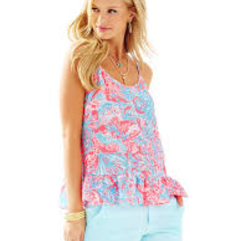"Lilly Pulitzer Coral Tank Top, Pink/azure, Size: XL - like new condition.<br /> <br /> ""The Coral Top is a printed seersucker chiffon tank with a ruffle hem. Wear this easy top with white denim or linen shorts. The possibilities are endless.<br /> Camisole With Ruffle At Hem.<br /> Seersucker Chiffon- Print (100% Polyester).<br /> Machine Wash Cold, Delicate Cycle.""<br /> <br /> Photo and description credits: lillypulitzer.com"