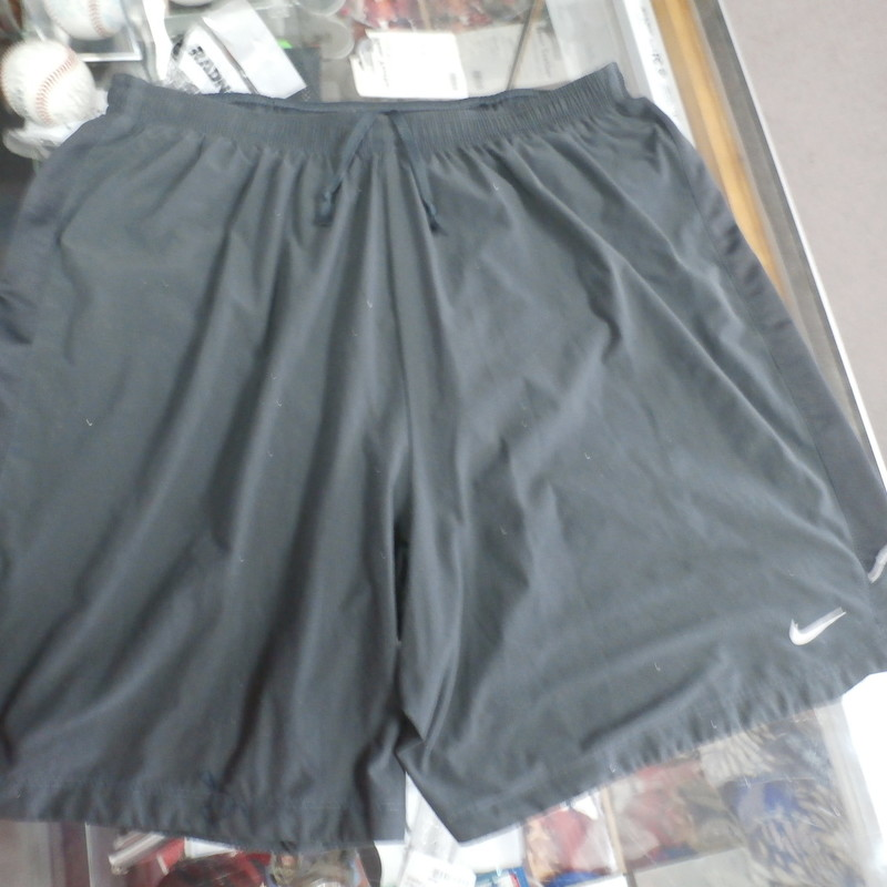 "Nike Dri-Fit Men's shorts size medium gray #30630<br /> Rating: (see below) 4- Fair Condition<br /> Team:N/A<br /> Player: N/A<br /> Brand: Nike<br /> Size: Men's   medium - (Measured Flat: Waist 13""; Length 17""; Inseam 6"")<br /> Measured flat: hip to hip; hip to hem; and groin to hem<br /> Color: gray<br /> Style: screen pressed; elastic waist ; has back pocket;<br /> Material: missing<br /> Condition: 4- Fair Condition: wrinkled; lots of pilling and fuzz; some stretching from use; some discoloration; a few small snags;<br /> Item #: 30630<br /> Shipping:FREE"