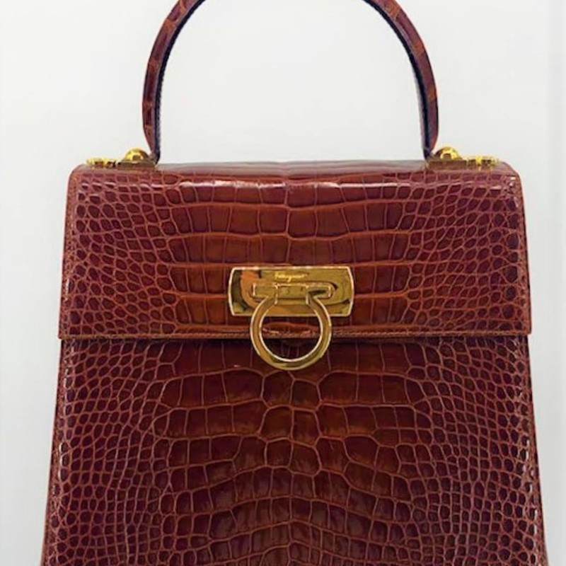 Salvatore Ferragamo genuine crocodile skin lady bag with long strap.<br /> <br /> Incredible bag, LIKE NEW, classic Ferragamo style