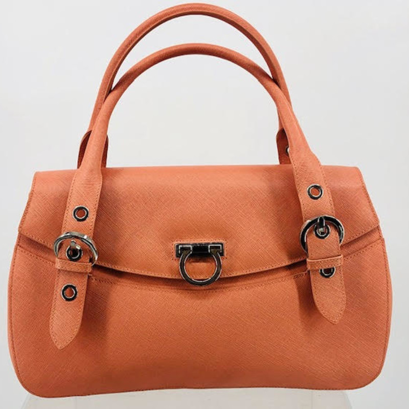 Salvatore Ferragamo coral saffiano leather bag, double top handle, gunmetal hardware, amazing condition!