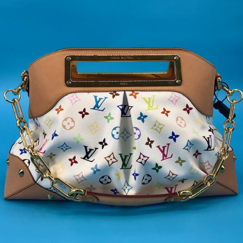 Louis Vuitton white and multicolore Judy bag<br /> <br /> GM size, goldtone hardware. Metal top handle and metal link shoulder strap, amazing condition, like new!