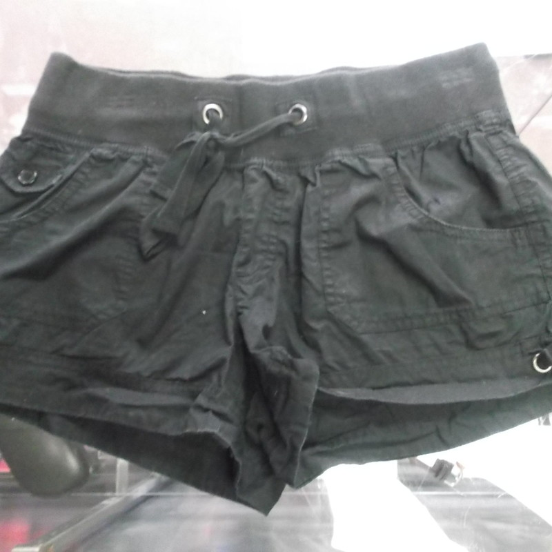 "Maurices Women's Shorts Black Size Small 100 Cotton #8225<br /> Rating:   (see below) 3 - Good Condition <br /> Team: n/a<br /> Player: n/a<br /> Brand: Maurices<br /> Size: Small - Women's(waist 28""; Length 12""; inseam 3"")<br /> Color: Black<br /> Style: Shorts; Drawstring<br /> Material: 100 Cotton<br /> Condition: - Good Condition - wrinkled; Material is faded and discolored; Minor pilling and fuzz; Small stain on the back waistline; Material feels coarse; definite signs of use; No rips or holes(See Photos for condition and description)<br /> Shipping: $3.37<br /> Item #: 8225"