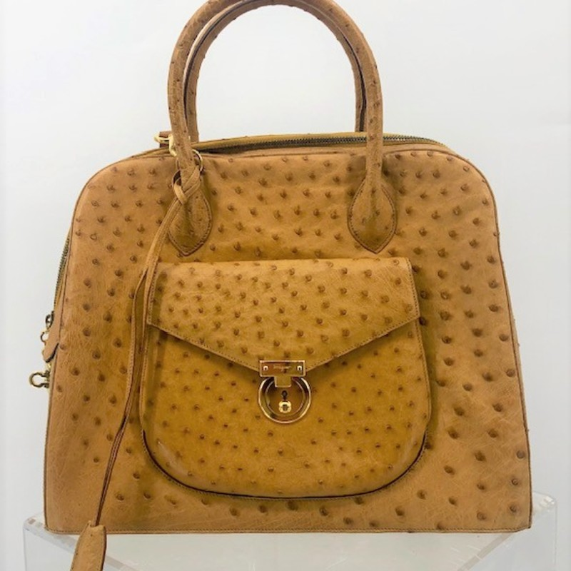 Salvatore Ferragamo GENUINE ostrich satchel bag, large bag with original long strap, AMAZING condition!