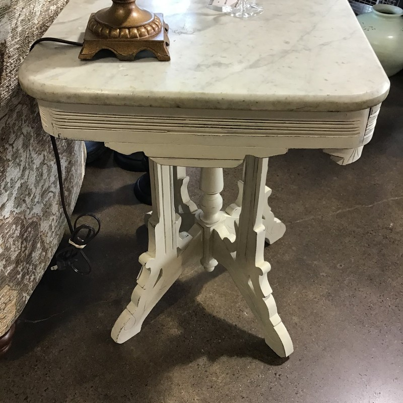 "This pretty painted table would make a perfect entry way table, end table or nightstand. It is painted using Country Chic's Cheesecake (cream) and then distressed. The marble piece does not attach to the base, it just sits on it.<br /> Dimensions are 27"" x 19"" x 29"""