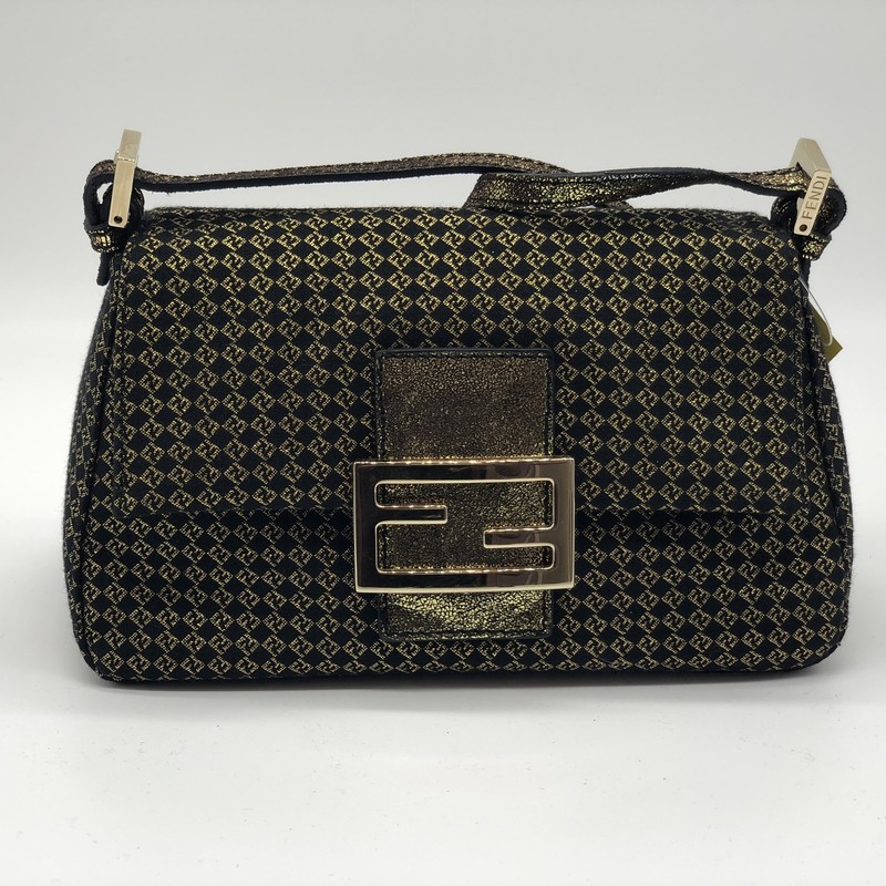 "Fendi Mini Mama Tube, Blk.Gld, Size: XS<br /> <br /> Condition: EXCELLENT<br /> <br /> 9""W x 5""H x 3.5""D (at base)<br /> 7"" strap drop<br /> <br /> We guarantee the authenticity of every bag on our site. Each bag comes with either an original sales receipt or a Certificate of Authenticity from AuthenticateFirst.com. Established in 2013, AuthenticateFirst.com<br /> (http://authenticatefirst.com) is one of the premier authentication services in the US, providing authentications of designer handbags, wallets, small leather goods, footwear, jewelry, and accessories. They employee in-house experts who have decades of experience working with hundreds of luxury brands."
