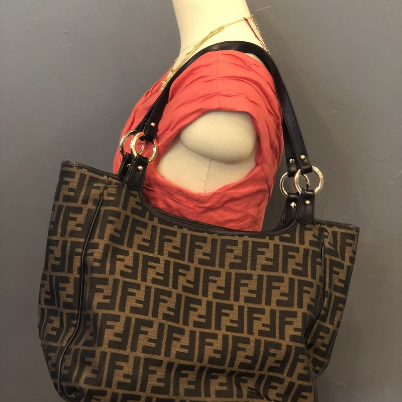 Fendi Zucca Tote, Brown, Size: M<br /> <br /> Condition: GOOD. Some wear/cracking on leather trim<br /> <br /> 10&quot;H x 13&quot;W x 5&quot;D<br /> 10&quot; strap drop