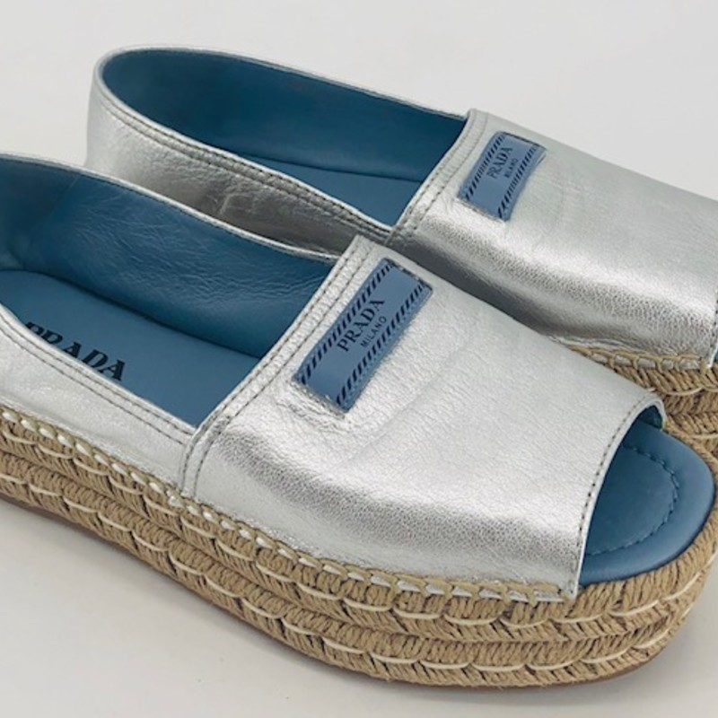 Prada silver peeptoe espadrille wedges, size 10/40<br /> Like new condition, current style