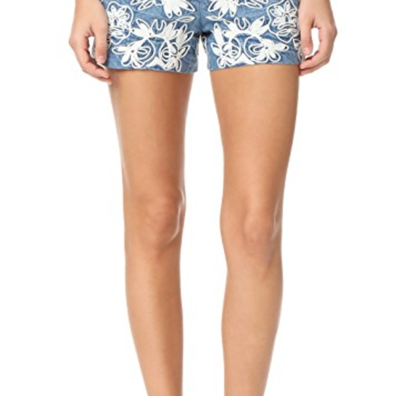 "Like new condition Alice & olivia Marisa Embroidered Back Zip Shorts, orig. rtl: $284, size 8<br /> <br /> ""These summery alice + olivia shorts are detailed with bold floral embroidery. Exposed back zip. Lined.<br /> <br /> Fabric: Embroidered chambray.<br /> Shell: 100% cotton.<br /> Lining: 97% cotton/3% elastane.<br /> Dry clean.<br /> Imported, China.<br /> <br /> Measurements<br /> Rise: 9.5in / 24cm<br /> Inseam: 3.25in / 8cm<br /> Measurements from size 4""<br /> <br /> Photo and description credits: shopbop.com"