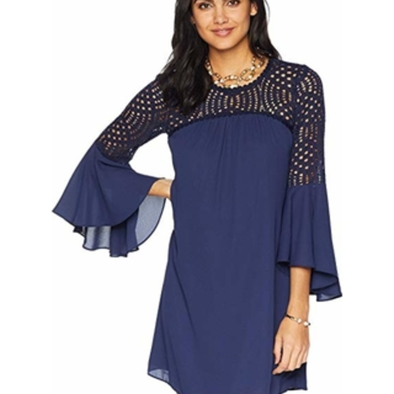 Lilly Pulitzer Amenna Flounce Dress, Navy, Size: 8<br /> <br /> <br /> Calling all lace lovers! We have the perfect top for you - with flirty lace on top and flounce sleeves at your sides, the Amenna Top is perfect for lunch with the girls or a night out on the town.<br /> <br />     Long Sleeve Top With Flounce Sleeves And Front And Back Lace Yoke.<br />     Lileeze ™ (100% Polyester) - This Machine Washable, Lightweight, Airy Fabric Works Wonders For Us! It Resists Wrinkles, Takes Color And Prints Fabulously, And Offers Amazing Drape To Keep You Comfortable And Resort Chic From Day To Night.
