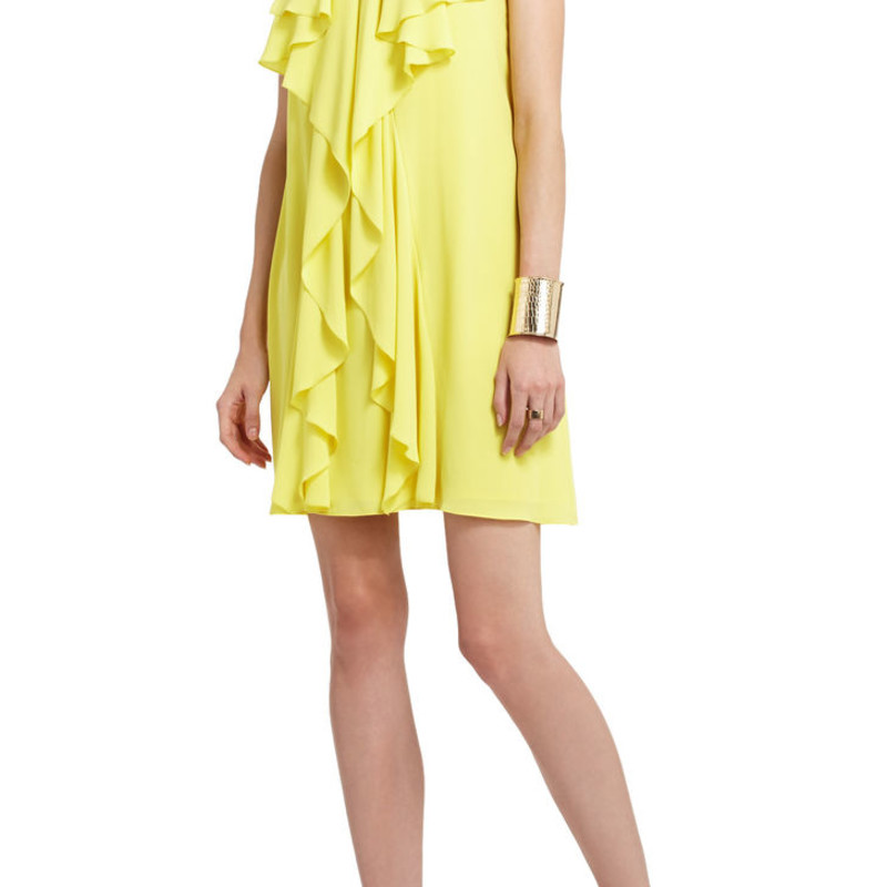 "BCBG Hattie Short Ruffle Dress, Yellow, Size: Small, orig. rtl: $268.<br /> <br /> ""No hassle shipping and returns. Receive free shipping and free returns on all bridal and bridesmaid styles.<br /> <br /> <br /> <br /> A fun and vibrantly hued dress for fabulous feminine-chic style.<br /> <br />     Halter neck. Sleeveless.<br />     Keyhole at neckline. Shimmer detail at neckline. Draped ruffles at front.<br />     Single cascading ruffle at back.<br />     Halter-tie closure.<br />     Georgette: Polyester.""<br /> <br /> Photo and description credits: bcbg.com"