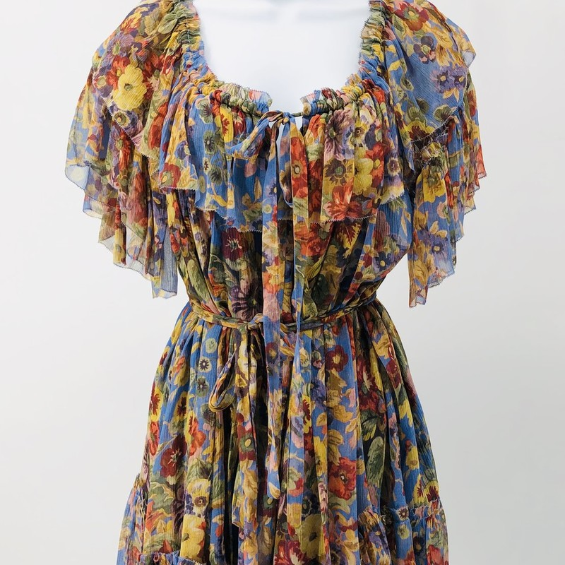 Zimmermann multi floral chiffon babydoll dress, can be belted or not and includes skinny fabric belt<br /> New with tags, originally $795