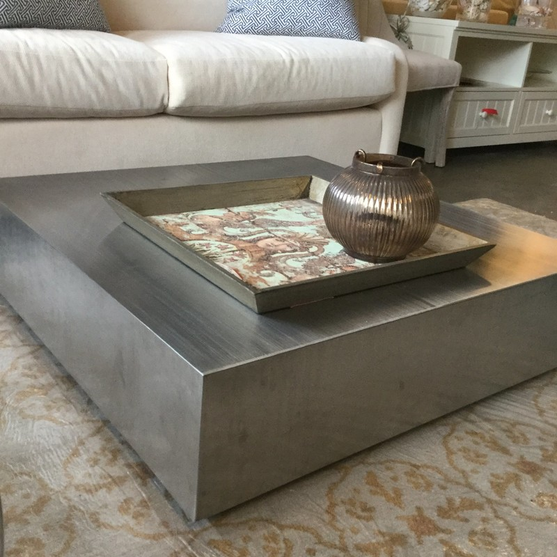 "Metal Side Table, Silver, Size: 36""X36""X10"""