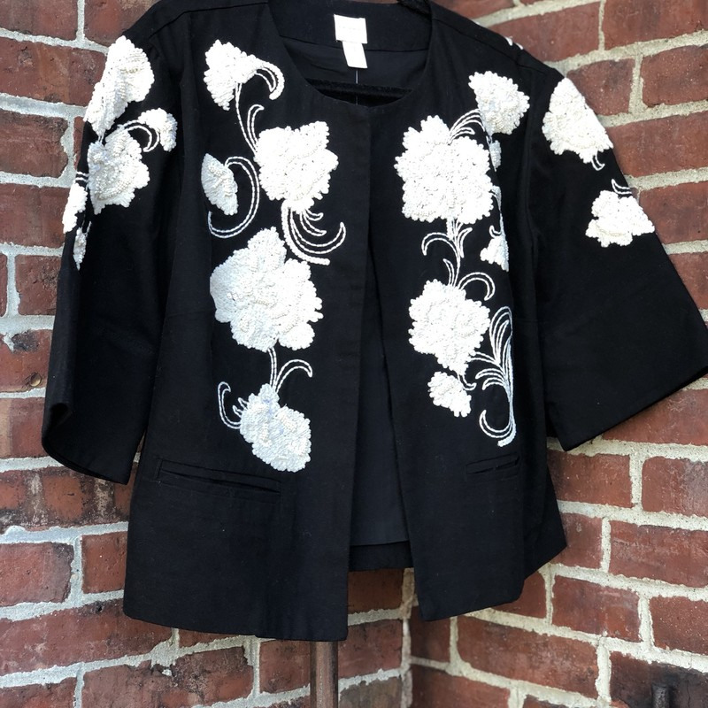 Chicos Embroidered Jacket, Black, Size: XLarge<br /> Chicos size 1. Fits a 12 and up!