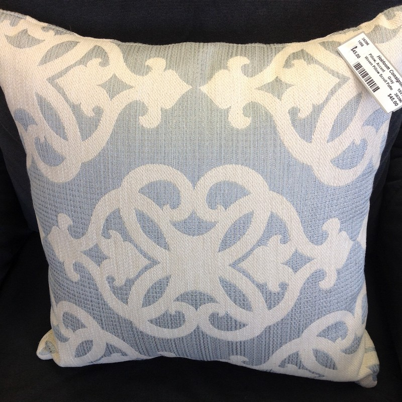 Woven Pillow Scroll Patte, Gray, Size: 18x18