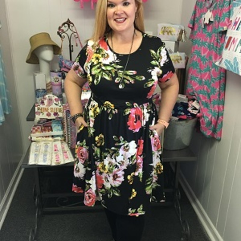 Our Floral Ruffled Pocket Dress is now available and looks gorgeous on. You can wear this to any occasion. The material has a lot of stretch made of 95% Polyester  5% Spandex with a length of 38in.