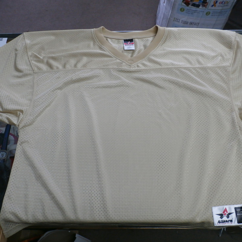 "Men's Alleson Gold Football Jersey size Large polyester #27968<br /> Rating:   (see below) 2- Great Condition<br /> Team:  N/A<br /> Player: N/A<br /> Brand:   Alleson Athletic<br /> Size: Men's   Large  (Measured Flat: across chest 24"", length 27"")<br /> Measured flat: armpit to armpit; top of shoulder to the bottom hem<br /> Color:  gold<br /> Style: ; short sleeve football jersey;<br /> Material:  100% polyester<br /> Condition: - 2- Great Condition - wrinkled; Like New;<br /> Item #: 27968<br /> Shipping: FREE"