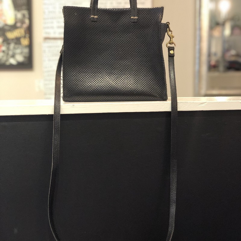 Clare V. Crossbody, Black, Size: Small<br /> Claire V. Perforated leather Tote with crossbody strap<br /> excellent condition!