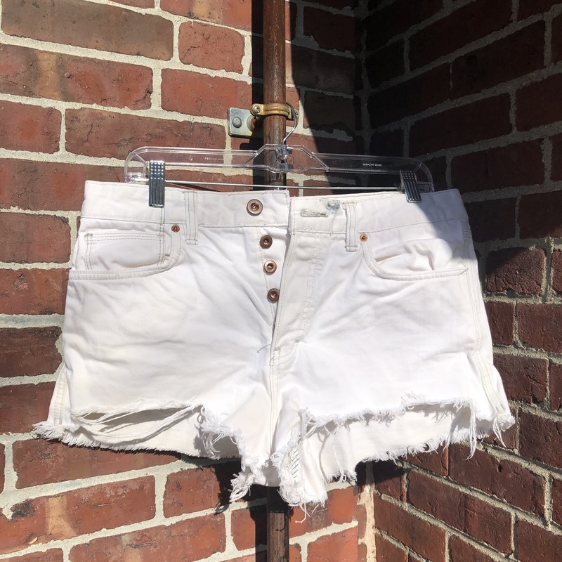 Free People Cut Off Short, White, Size: 30<br /> button fly