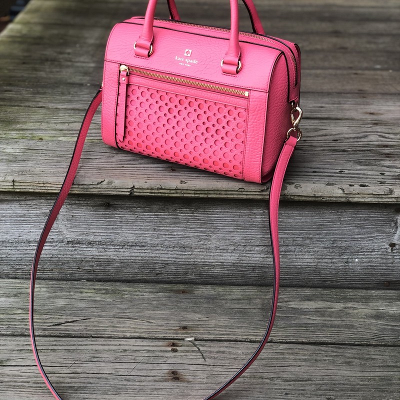 Kate Spade Handbag NWT, Pink, Size: . K Spade<br /> This stunning bag is brand new with $398 tags attached. May be worn two ways as it includes a long strap. This is a showstopper. What a nice graduation gift!