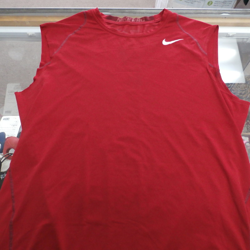 Nike Pro Men&#039;s Fitted shirt sleeveless size Large Red #32297<br /> Rating:   (see below) 4- Fair Condition<br /> Team: N/A<br /> Player: N/A<br /> Brand:  Nike<br /> Size: Men&#039;s   Large (Measured Flat: across chest 20&quot;, length 29&quot;)<br /> Measured flat: armpit to armpit; top of shoulder to the bottom hem<br /> Color:  red<br /> Style: ; sleeveless;<br /> Material:   100%  polyester<br /> Condition: - 4- Fair Condition - wrinkled; minor pilling and fuzz; minor stretching from use; some very light staining; the stitch around the right arm hole is been removed;<br /> Item #: 32297<br /> Shipping: FREE