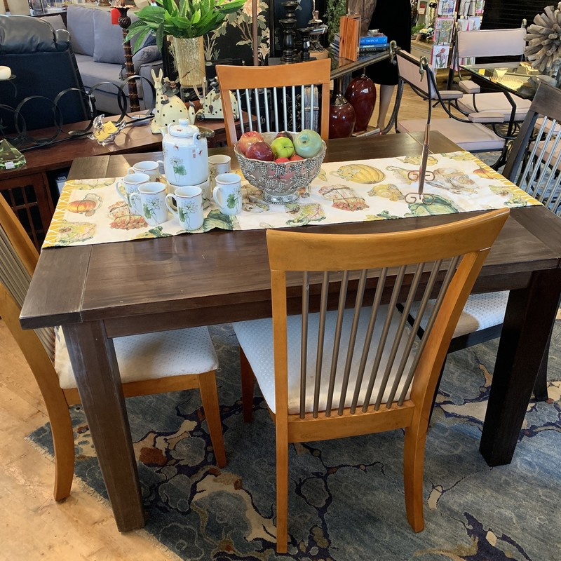 Cute dining table and 4 chairs. Three of the four chairs are a light wood that can easily be stained to math the table and chair.