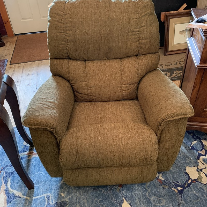 This recliner is in good condition and the perfect shade of olive