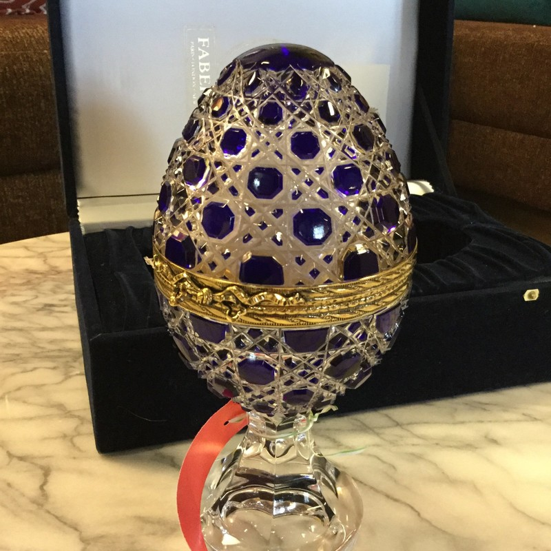 "... we've got you covered! This Faberge Workmaster Egg is in the original box with authentication paperwork. It's 9"" tall."