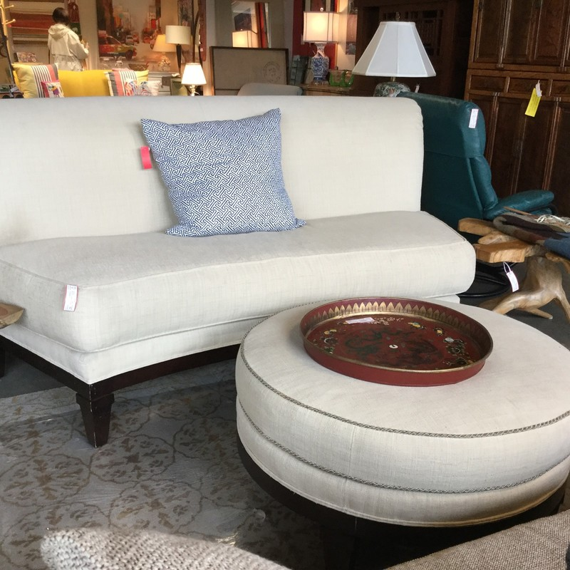 This elegant, curved Drexel sofa and ottoman measures 84 x 45 x 38""