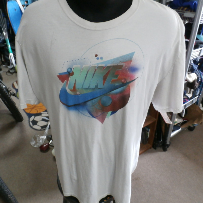"Nike off-white graphic T-shirt size 3XL 100% cotton #5982<br /> Rating: (see below) 4- Fair Condition<br /> Team: n/a<br /> Player: n/a<br /> Brand: Nike<br /> Size: Men's XXXLarge- (Measured Flat: Across chest 27""; Length 32"")<br /> Measured Flat: underarm to underarm; top of shoulder to bottom hem<br /> Color: off-white<br /> Style: short sleeve; screen printed<br /> Material: 100% cotton<br /> Condition: 4- Fair Condition: material looks dingy and discolored; light stains on right chest (see photos)<br /> Item #: 5982<br /> Shipping: FREE"