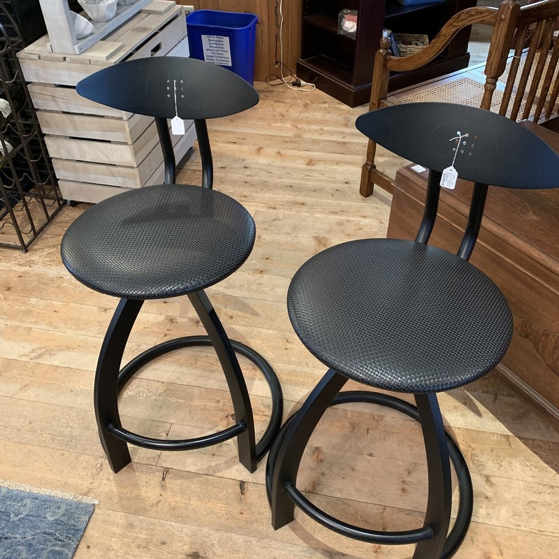4 Counter Barstools, Black, Size: None