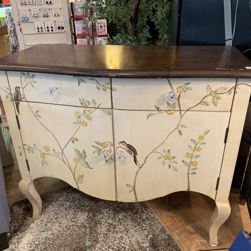 "Handpainted Cabinet<br /> Color: cream w/vines<br /> Size: 19""D x 39""L x 33""H"