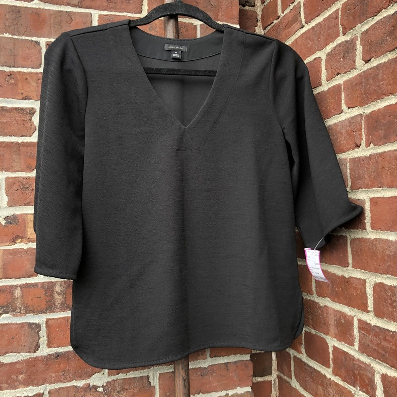Ann Taylor V-neck Top, Black, Size: XLarge