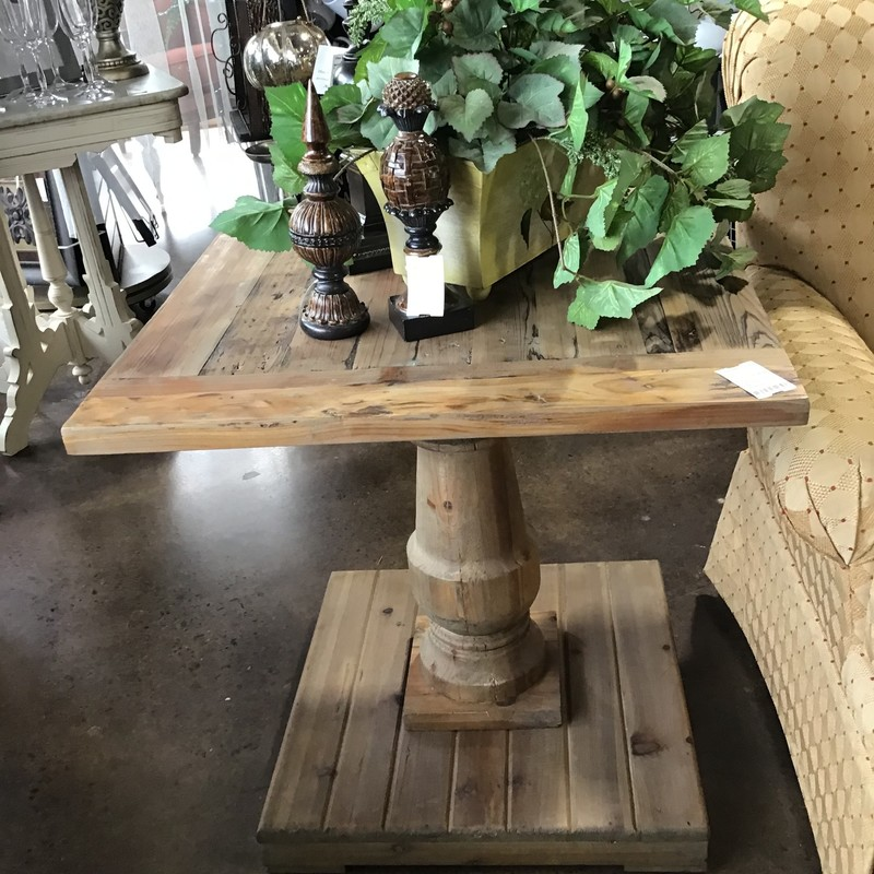"This rustic side table is made by Uttermost.  If you have never heard of Uttermost, check them out online.  Solidly constructed of salvaged fir lumber and hand turned baluster. Sun faded, distressed patina is finished with a stony gray wash. Solid wood will continue to move with temperature and humidity changes, which can result in small cracks and uneven surfaces, adding to its authenticity and character. This table and the matching end table and coffee table were bought recently to stage a home to sell so they are in brand new condition.  Original owner paid $450 for each side table.  Matches tables #100015 & #100018<br /> <br /> Dimensions:  26"" x 26"" x 26"""