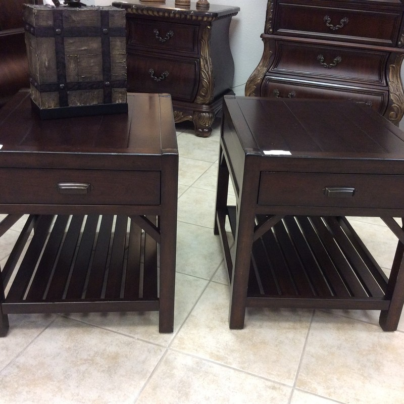 This handsome THOMASVILLE duo features solid wood construction with a dark cherry finish. They each have a single drawer, as well as a lower slatted shelf. Gently used condition.