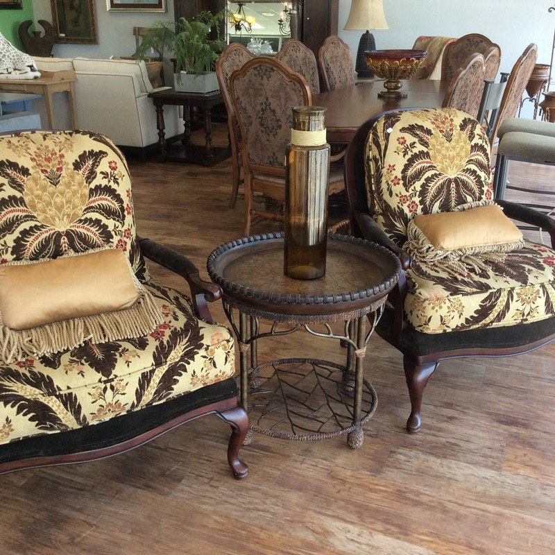 This custom duo came from VANGUARD FURNITURE in Hickory, North Carolina. Both the back and seat cushions are removable, and so are their zippered covers (easy to have cleaned!). The solid wood frames have a mahogany finish and are in very good condition.