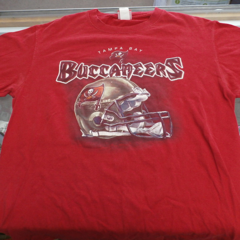 "Men's NFL Tampa Bay Buccaneers shirt size Medium red #32672<br /> Rating: (see below) 4- Fair Condition<br /> Team: Tampa Bay Buccaneers<br /> Player: Team<br /> Brand: NFL<br /> Size: Men's Medium- (Measured Flat: Across chest 20""; Length 29"")<br /> Measured Flat: underarm to underarm; top of shoulder to bottom hem<br /> Color: red<br /> Style: short sleeve shirt; screen pressed ;<br /> Material: 100% cotton<br /> Condition: 4- Fair Condition: wrinkled; pilling and fuzz; some light staining; some discoloration;<br /> Item #: 32672<br /> Shipping: FREE"