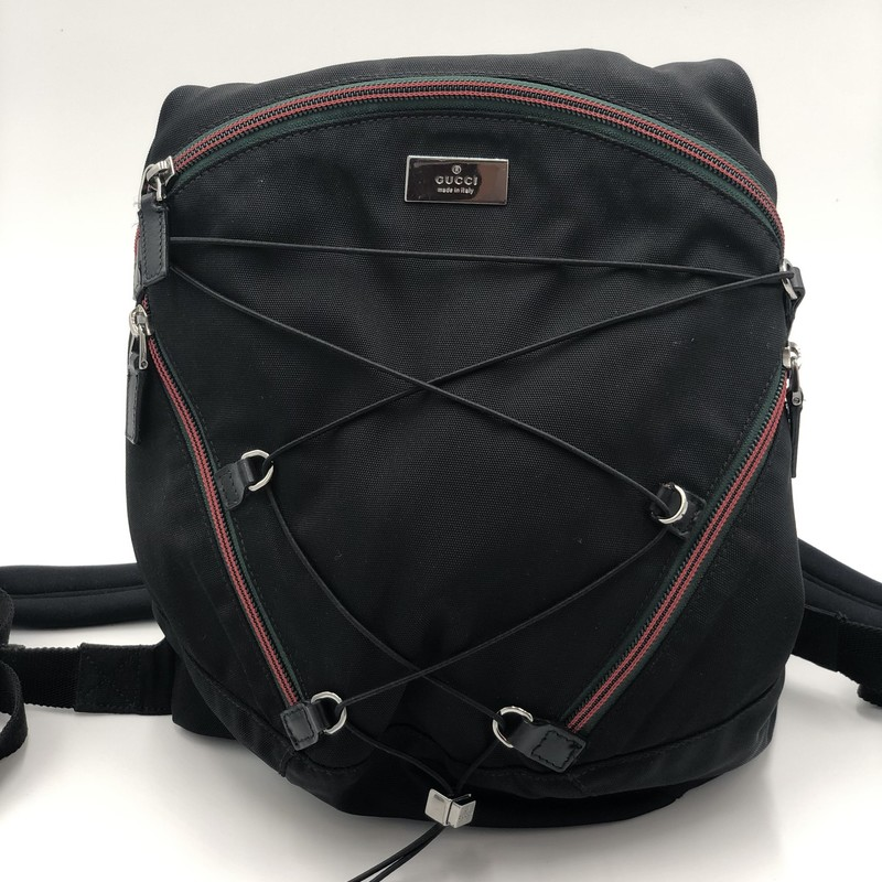 "Gucci Nylon Sport Backpac, Black, Size: S<br /> <br /> Condition: EXCELLENT<br /> <br /> 14""H x 10""W x 3""D<br /> Adjustable straps"