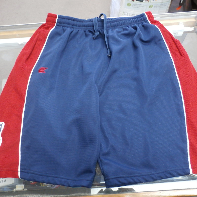 "Men's Arizona Wildcats shorts size XL blue & red #32385<br /> Rating:   (see below) 4- Fair Condition<br /> Team: Arizona Wildcats<br /> Player: Team<br /> Brand: Colosseum Athletics<br /> Size: Men's   XL (Measured Flat: across waist 16"", length 23"" Inseam 9"" )<br /> Measured flat: hip to hip; hip to hem; and groin to hem<br /> Color: blue & red<br /> Style: Shorts; embroidered; elastic waist drawstring;<br /> Material:  100% polyester<br /> Condition: - 4- Fair Condition - wrinkled; minor pilling and fuzz; minor stretching; minor discoloration; item has snags;<br /> Item #: 32385<br /> Shipping:FREE"