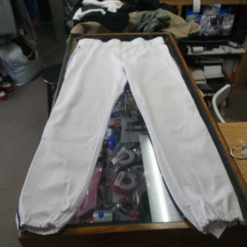 "Russell Athletic Men's Baseball Pants Size 42 White 100% Nylon #8547<br /> Rating:   (see below) 3 - Good Condition<br /> Team: n/a<br /> Player: n/a<br /> Brand: Russell Athletic <br /> Size: 42 - Men's(waist 38""; Length 43""; inseam 30"")<br /> Color: White<br /> Style: Baseball pants; Elastic leg ends<br /> Material: 100% Nylon<br /> Condition: - Good Condition - wrinkled; Material is faded and discolored; Stains all throughout; Signs of use(SEE PHOTOS FOR UNDERSTANDING OF CONDITION) <br /> Shipping cost: $6.35<br /> Item #: 8547"