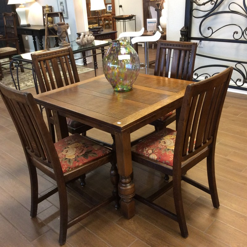 "Everytime we get one of the cute little ANTIQUE sets, it sells almost immediately. The table measures 36"" square in it's smallest form. When you extend the two 12"" leaves, the table becomes five feet long, for added space."