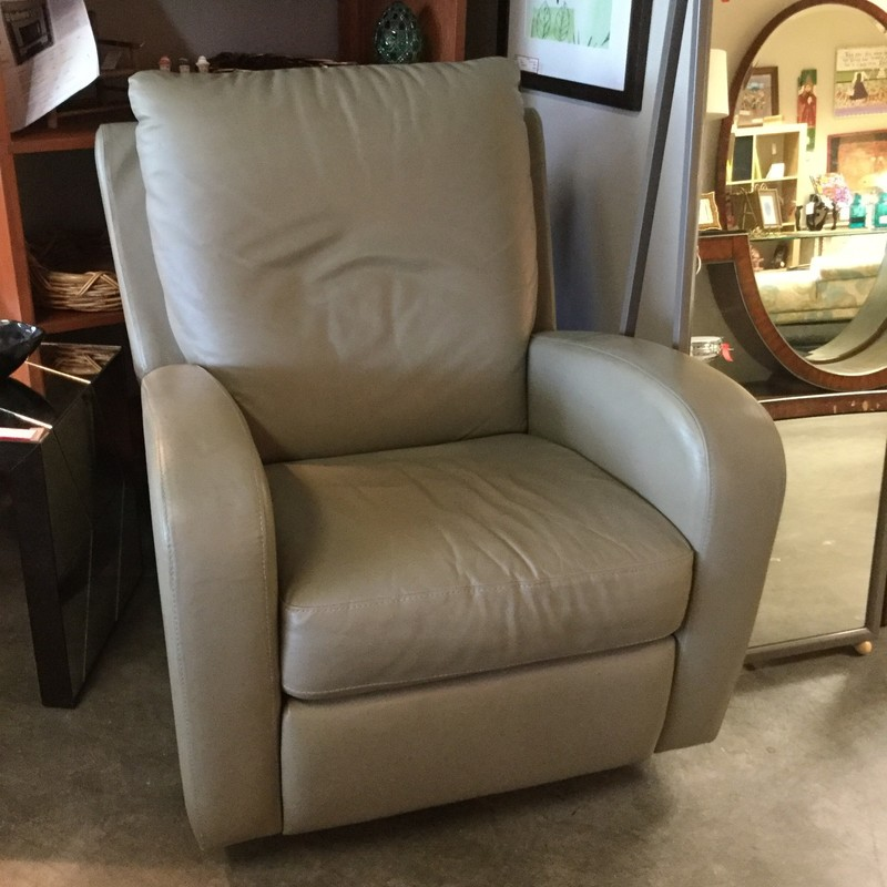 Natuzzi Leather Recliner, As Is, Size: Sage