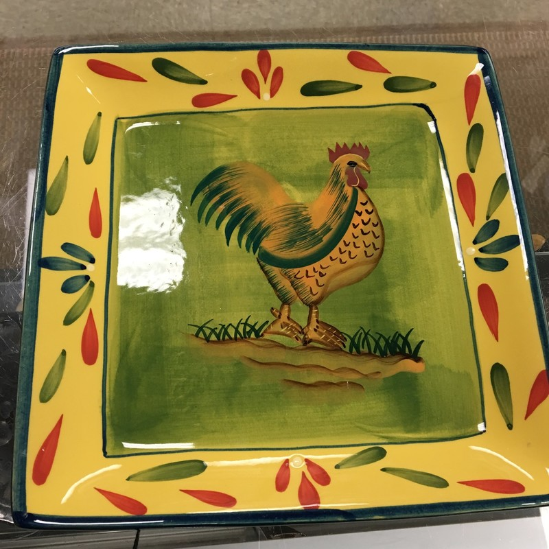 Rooster Serving Plate, Yel/Grn, Size: 10 Inch