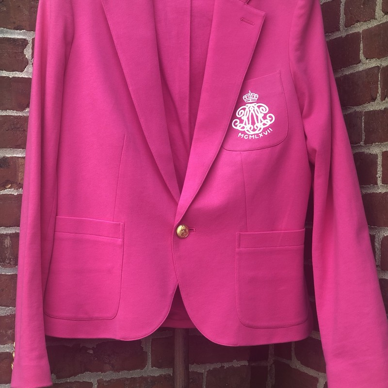 Ralph Lauren Pink Jacket, Pink, Size: 8/10<br /> Pristine Ralph Lauren Sport Pink Jacket, fits 8/10. fastens with one large gold button