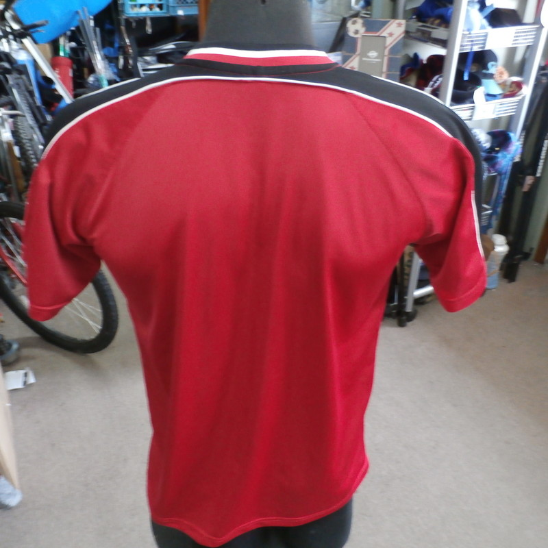 "Team Canada red Mighty Mac Sports shirt red size Large 100% polyester #15225<br /> Rating: (see below) 3- Good Condition<br /> Team: Team Canada<br /> Player: n/a<br /> Brand: Mighty Mac<br /> Size: Men's Large- (Measured Flat: Across chest 21""; Length 27"")<br /> Measured Flat: underarm to underarm; top of shoulder to bottom hem<br /> Color: red<br /> Style: short sleeve; screen printed<br /> Material: 100% polyester<br /> Condition: 3- Good Condition: some wear and discoloration from use; light stain on chest; small snags throughout (see photos)<br /> Item #: 15225<br /> Shipping: FREE"
