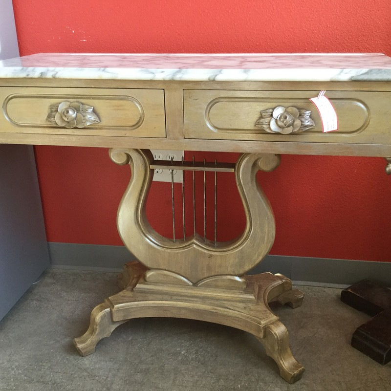 "Beautiful Buffet with Italian Marble Top, Wood/Marble, Size: 37""X15""X30"""