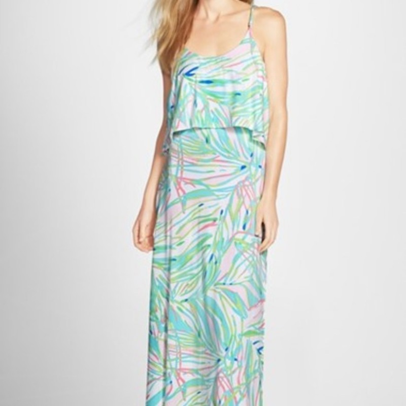 "Lilly Pulitzer NWT Harrington Maxi Dress, Skye Blue, Size: Small orig. rtl: $228<br /> <br /> ""The Harrington Maxi Dress is a printed spaghetti strap maxi dress with a flounce bodice. This is the perfect maxi for a beach wedding or party. It is flattering and chic on so many body types.<br /> Printed Spaghetti Strap Maxi Dress With Flounce Bodice. Rayon Spandex Jersey - Printed (96% Rayon, 4% Spandex). Hand Wash Cold. Imported. ""<br /> <br /> Photo and description credits: lillypulitzer.com"