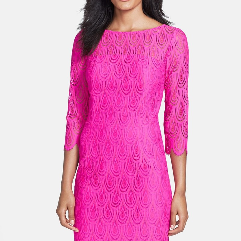 "Lilly Pulitzer like new 'Hera' Lace Sheath Dress, size 10.  Bright fuschia, orig. rtl: $298<br /> <br /> ""Transition into fall with a year-round favorite sheath, updated with three-quarter sleeves and dense lace in a dark, polished palette. - 36 1/2"" length (size 8) - Hidden back-zip closure - Lined - 86% nylon, 14% polyester - Dry clean or hand wash cold, line dry""<br /> <br /> Photo and description credits: nordstromrack.com"